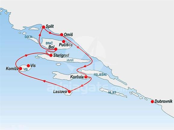 Nudist Cruise in Central Dalmatia Route
