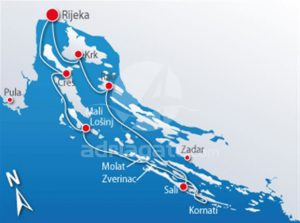Rijeka and Kvarner to Kornati cruise route