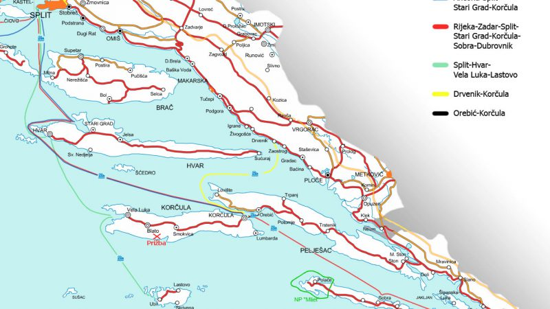 Split to Dubrovnik ferry routes