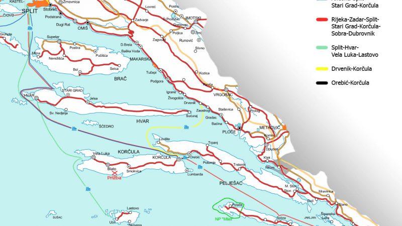 Split to Dubrovnik ferry routes