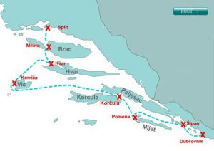 Split to Dubrovnik cruise map