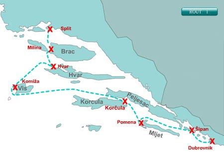 Croatia Cruising Itineraries Maps and Routes  Split Croatia