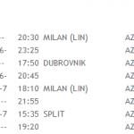 Alitalia flights: Milano Split Dubrovnik