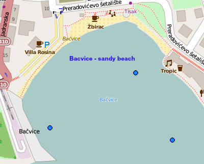 Bacvice beach map
