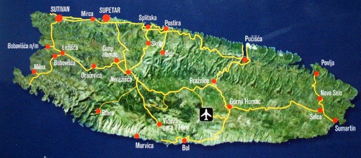 Brac island villages and roads map