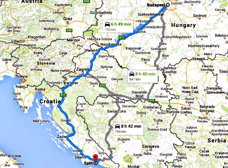 Budapest to Split map