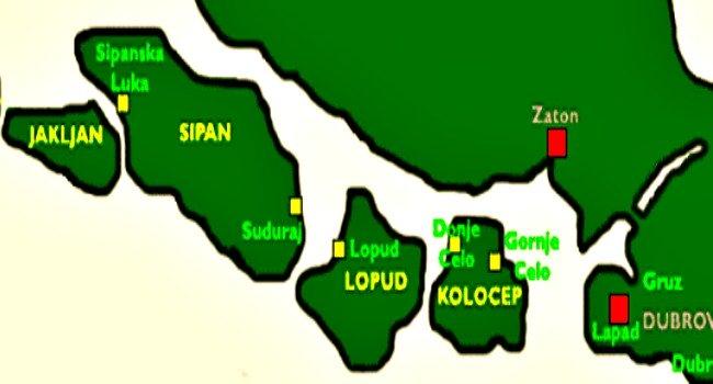 Elaphiti islands map