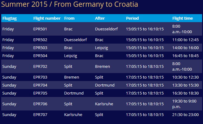 Express Airways - Germany-Brac-Split
