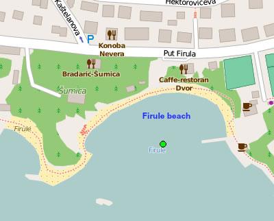 Firule beach map