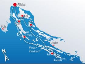 Rijeka with Kornati islands cruise map