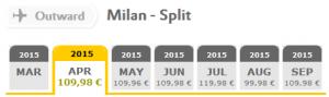 Vueling flights: Milan - Split