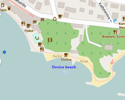 Ovcice beach map