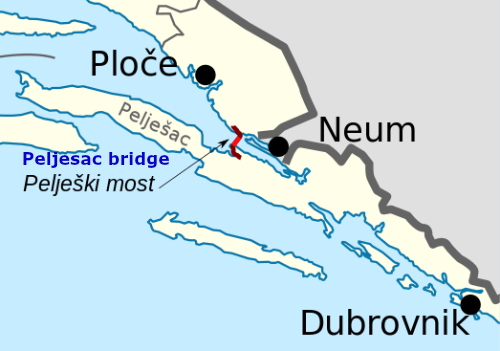 Peljesac bridge map