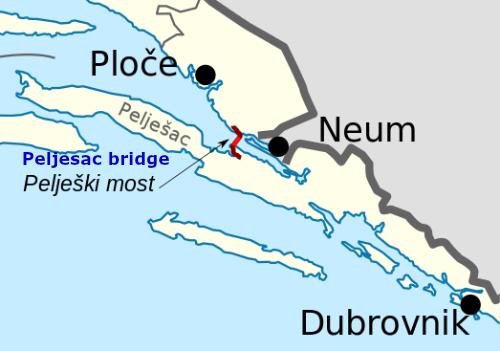 Peljesac bridge map