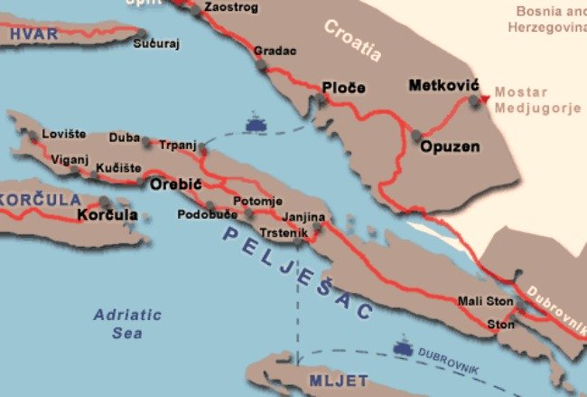 Peljesac peninsula map