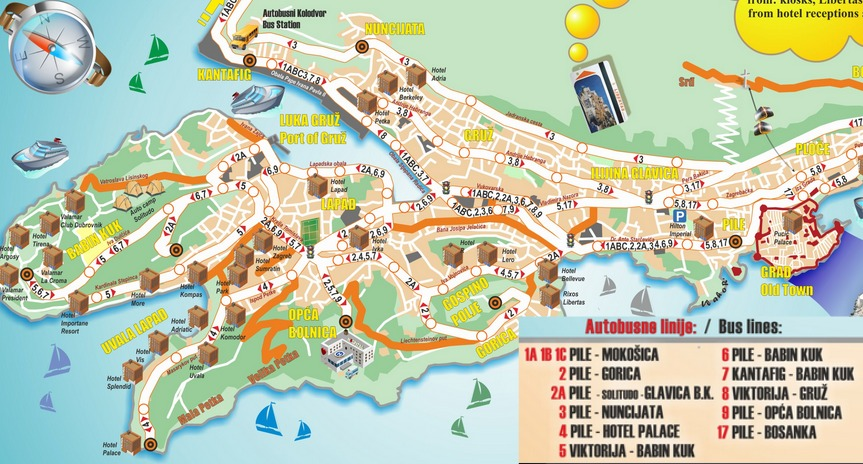 Dubrovnik public transport map