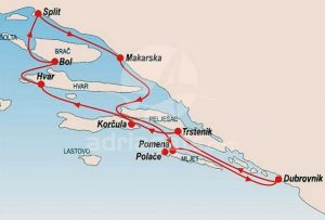 Split to Dubrovnik cruise map for young