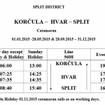 Split - Hvar - Korčula low season catamaran schedule