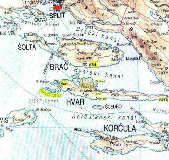 Islands near split: Brac, Solta, Hvar, and Vis