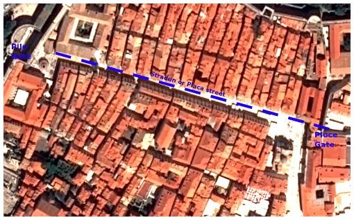 Stradun street map in Dubrovnik