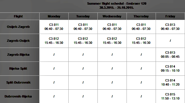 TradeAir summer flights schedule