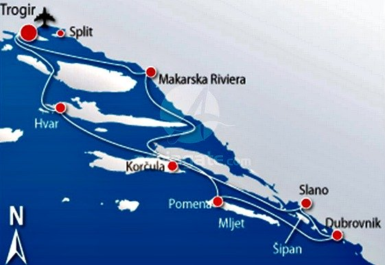 Trogir to Trogir cruise map