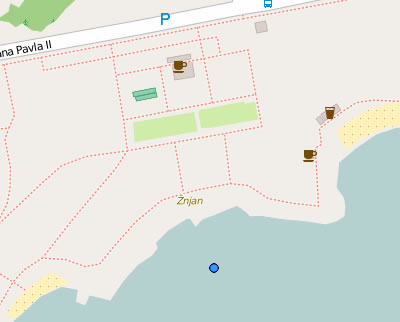 Znjan beach map