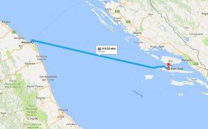 Ancona to Stari Grad ferry route