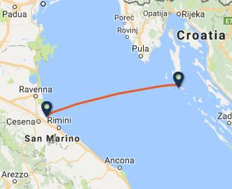Cesenatico to Mali Losinj ferry route map