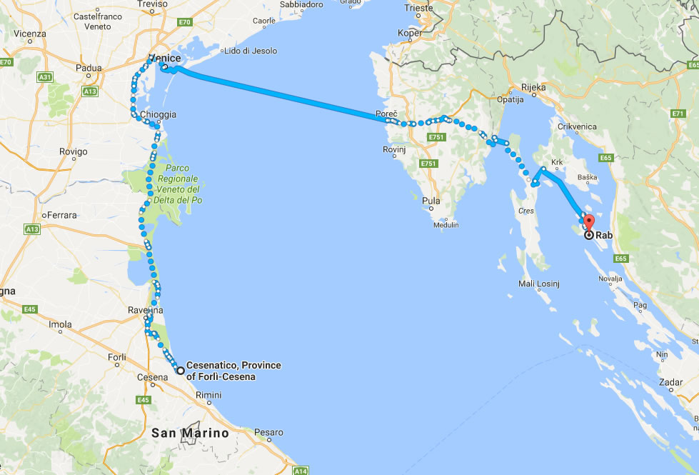 Cesenatico to Rab ferry route map