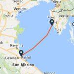 Cesenatico to Rovinj ferry route map