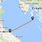 Pesaro to Mali Losinj ferry route map