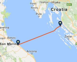 Pesaro to Novalja ferry route map