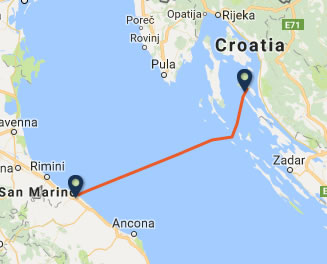 Pesaro to Rab ferry route map