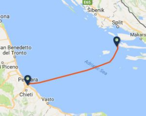 Pescara to Hvar Ferry Route map