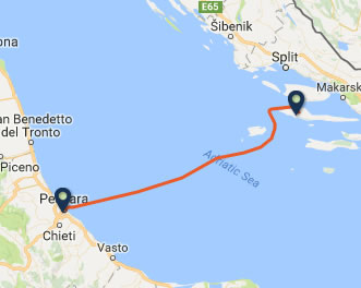 Pescara to Stari Grad ferry route map
