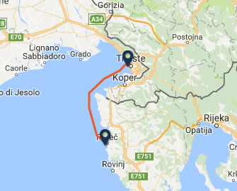 Trieste to Porec ferry route