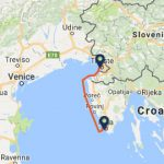 Trieste to Pula ferry route map