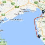 Trieste to Rovinj ferry route map