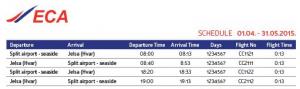 EC Air - Split to Jelsa (Hvar): April 1 - May 31