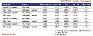 EC Air - Split to Jelsa (Hvar): September 1 - September 30