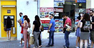 Queues at Greek ATMs