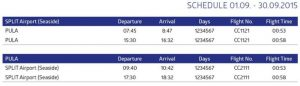 Split to Pula flight schedule: September