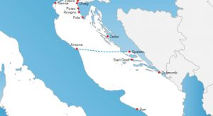 Ancona to Split ferry route map