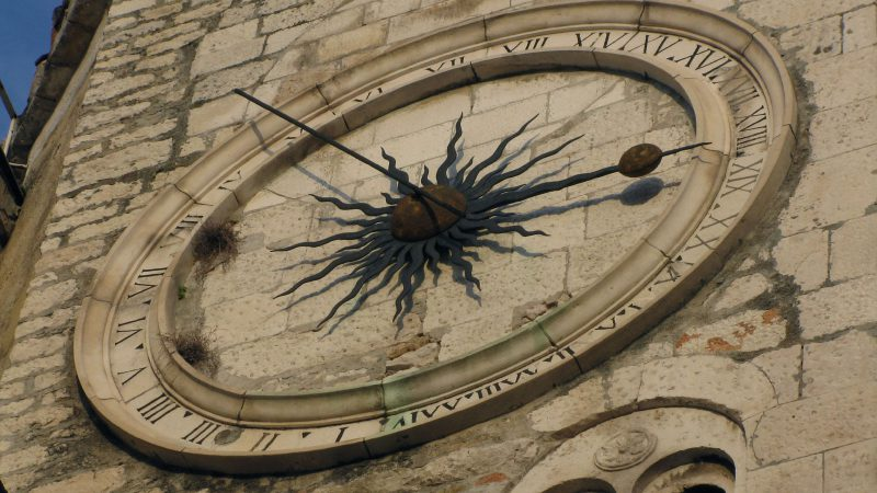 Clock on Pjaca square in Split
