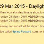 Daylight Saving Time Start