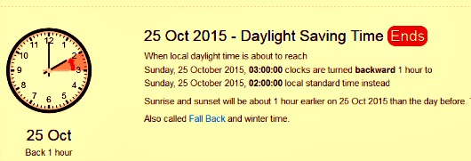 Daylight Saving Time End