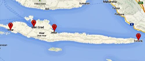 Hvar island ferry map