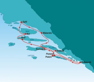 Luxury cruise from Split to Dubrovnik (map)