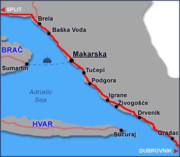 kart over makarska Makarska Riviera   Dalmatia's Hotspot   Split Croatia Travel Guide kart over makarska